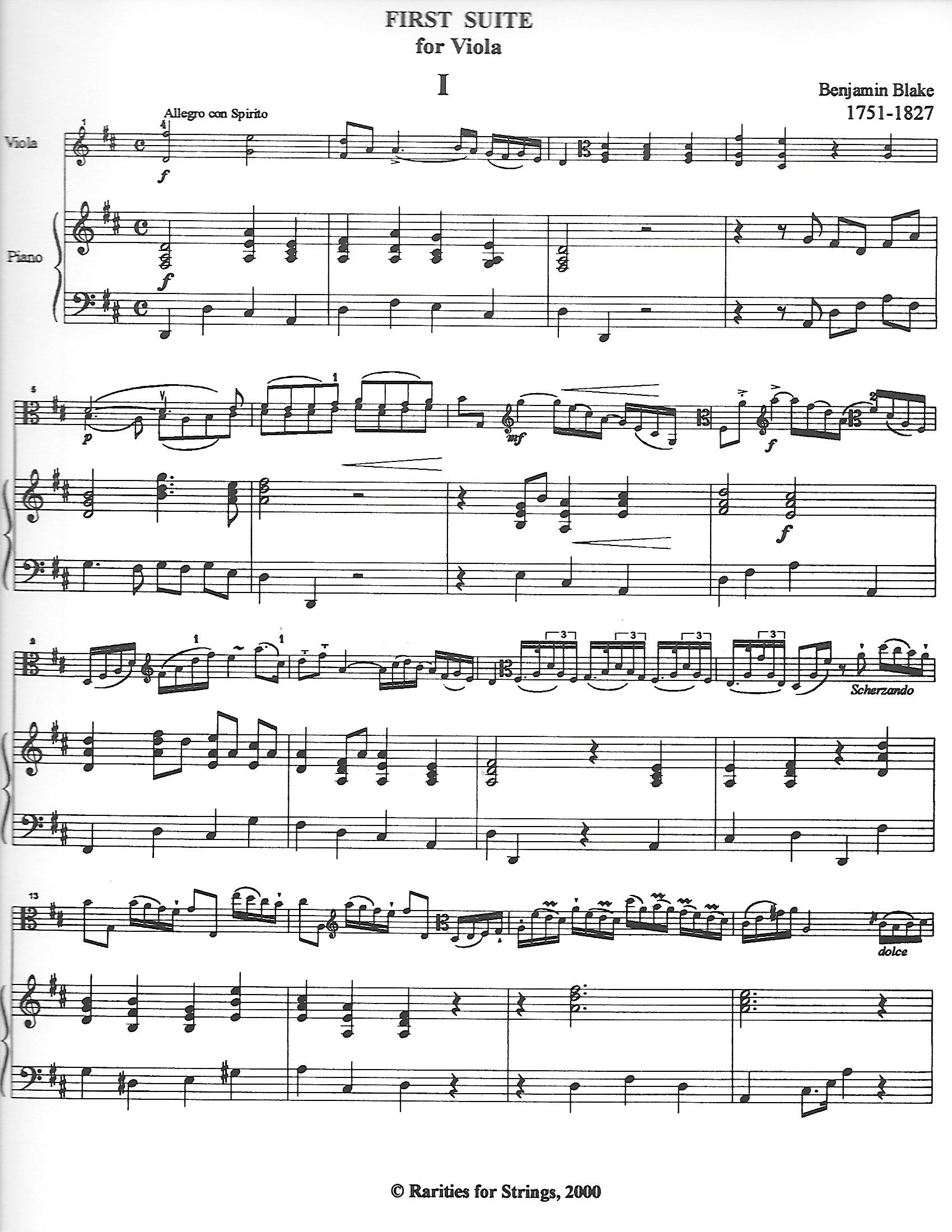 Blake, Benjamin - Solo for Viola in Three Movements with Cello or Piano Accompaniment - Music