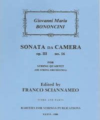 Bononcini, Giovanni Maria (Sciannameo)Sonata da Camera Op. III, No. 16(Score and Parts)