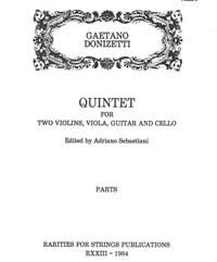 Donizetti, Gaetano (Sebastiani)Quintet for Two Violins, Viola, Guitar & Cello(Parts)
