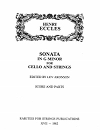 Eccles, Henry (Aronson)Sonata in G Minor for Cello & Strings(Score & Parts)