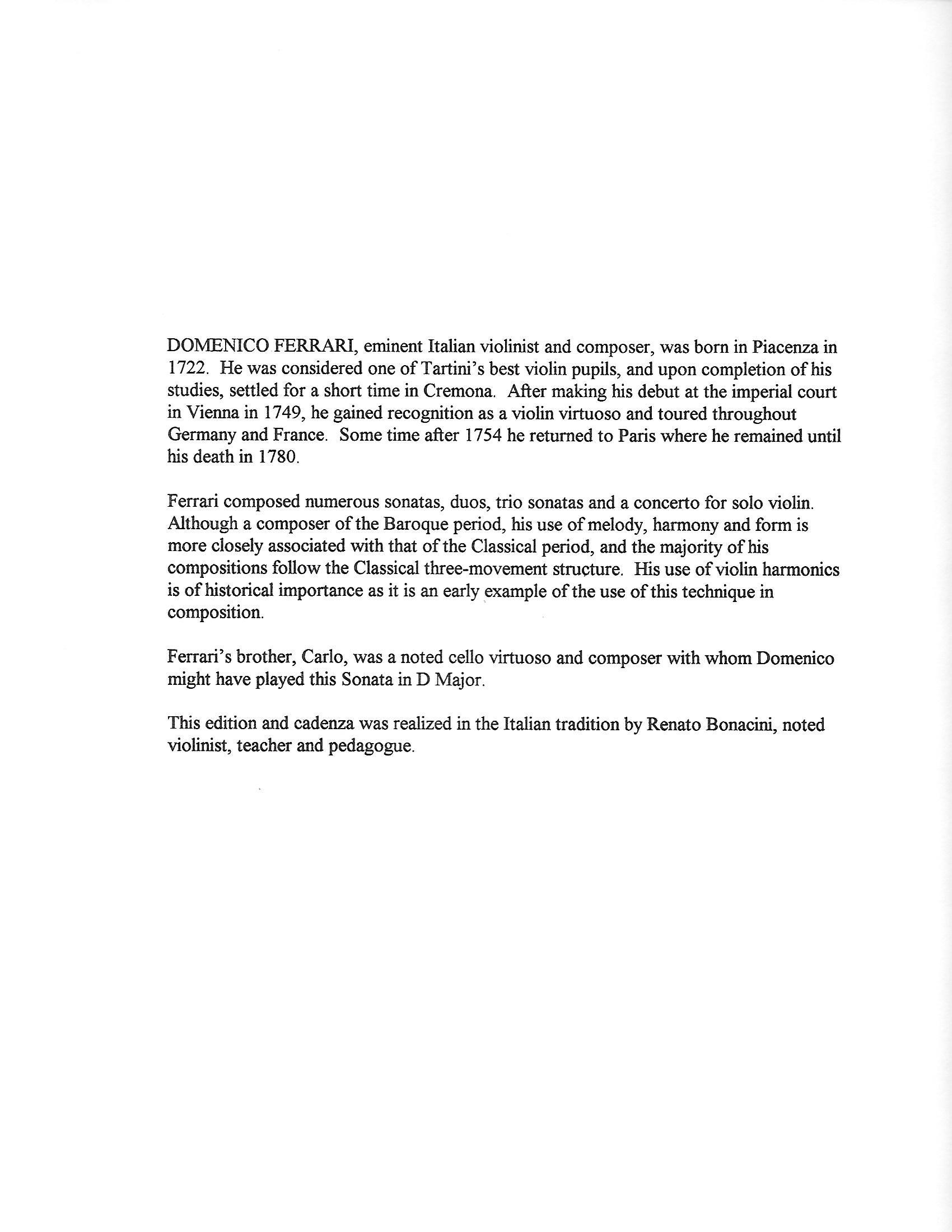 Ferrari, Domenico - Sonata in D Major for Violin and Cello - Information about Composer