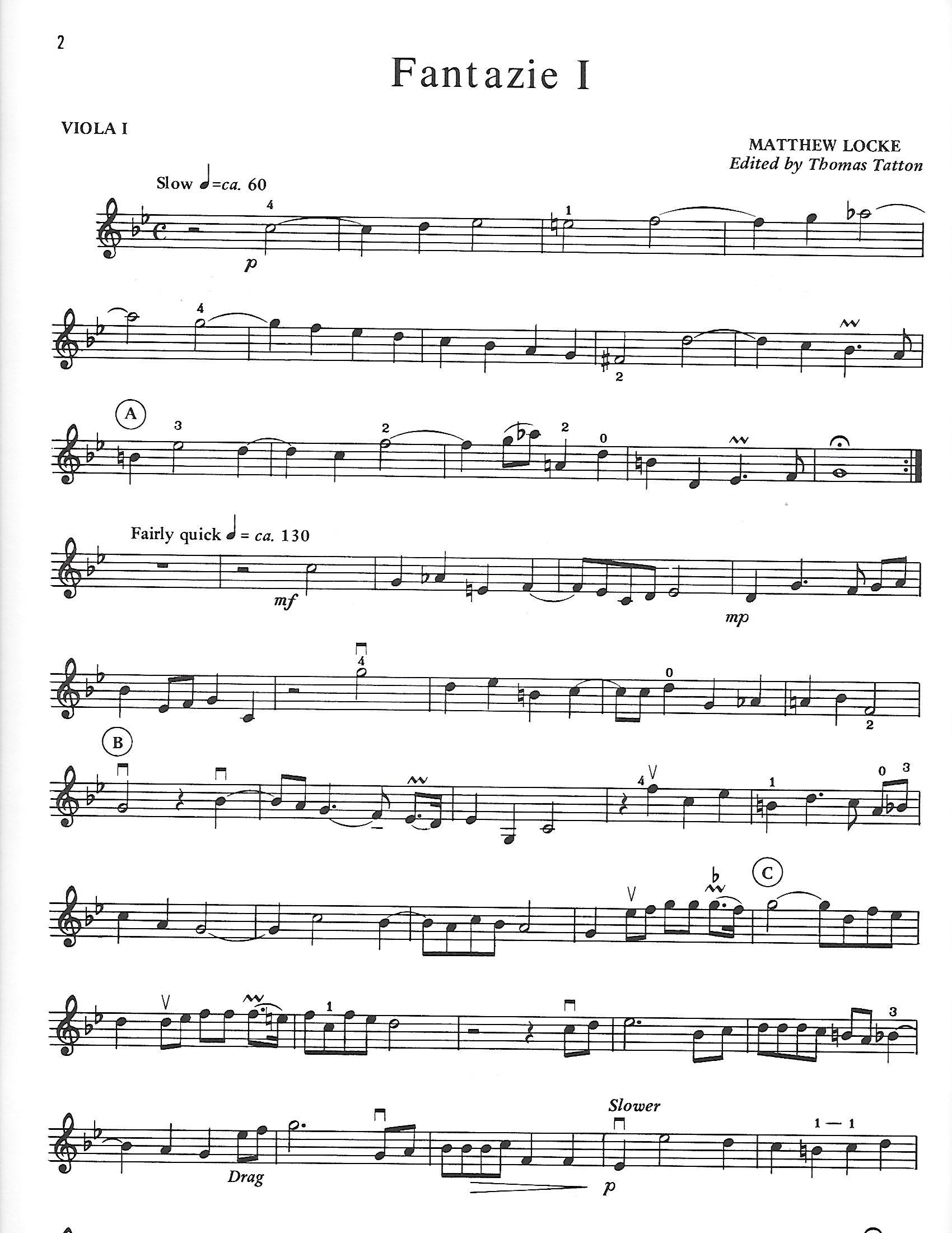 Locke, Matthew - The Flat Consort for My Cousin Kemble for Three Violas - Music
