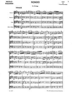 Paganini, Niccolo - Rondo for String Quartet or String Orchestra , Score and Parts - Music