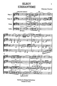 Puccini, Giacomo - Elegy (Crisantemi) for String Quartet, Score and Parts - Music