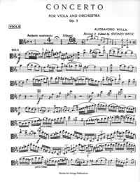 Rolla, Alessandro - Concerto for Viola in E Flat, Op. 3 with Piano - Music