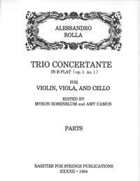 Rolla, Alessandro (Myron Rosenblum)Trio Concertante in B Flat (Op.1, No.1) for Violin, Viola & Cello