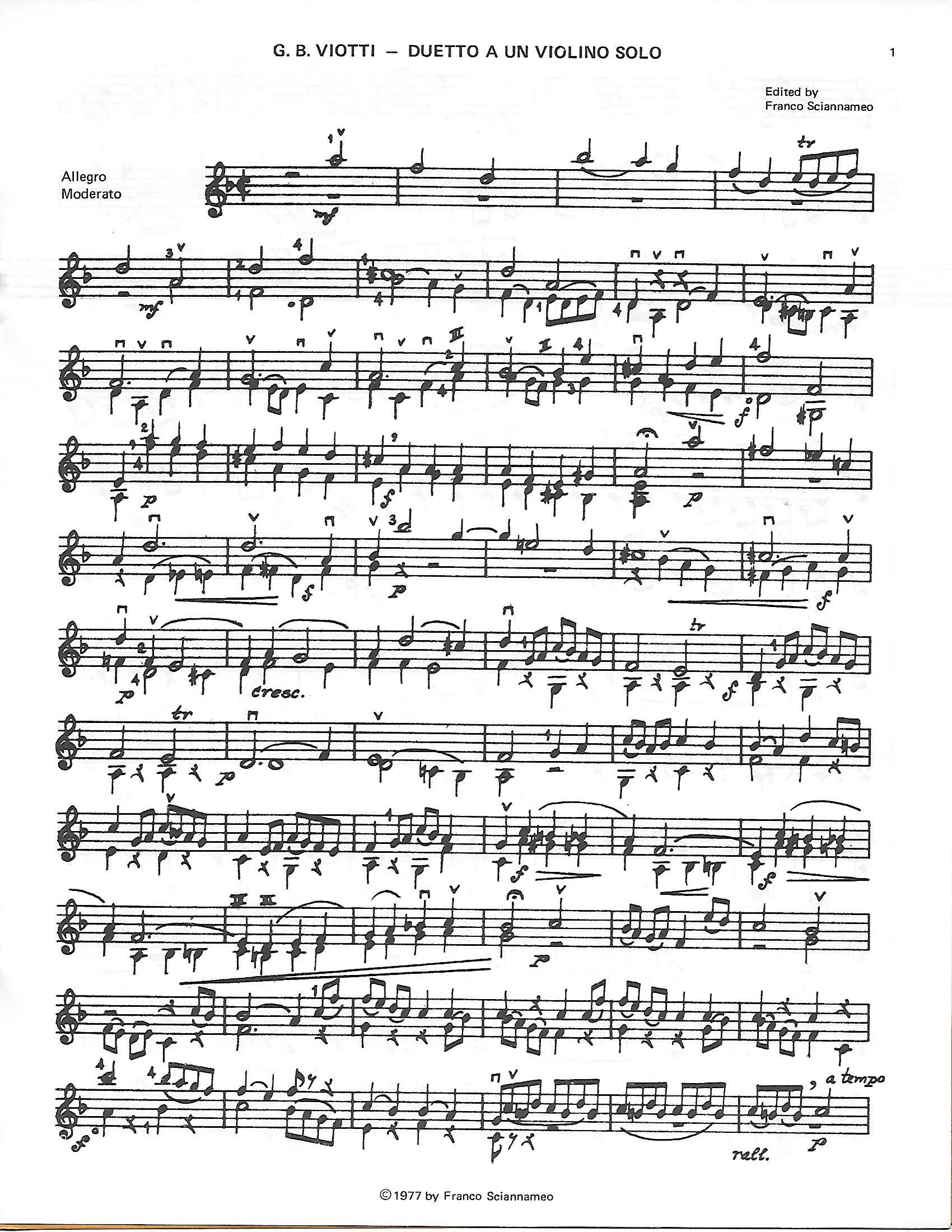 Viotti, G.B. - Duetto a un Violino Solo - Music